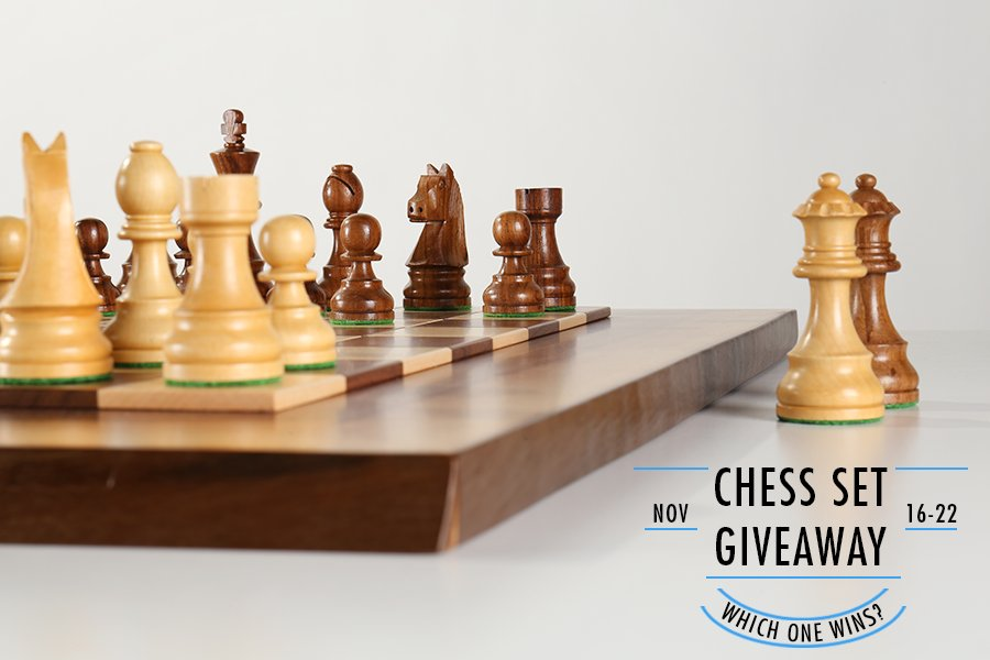 Chess Set Giveaway Natural Edge Board with Timeless Pieces