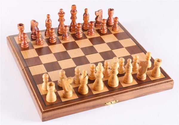 "10 3/4"" Magnetic Folding Walnut Chess Set - Chess Set - Chess-House"