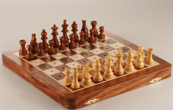 "10"" Folding Pegged Golden Rosewood Chess Set in Leather Case - Chess Set - Chess-House"