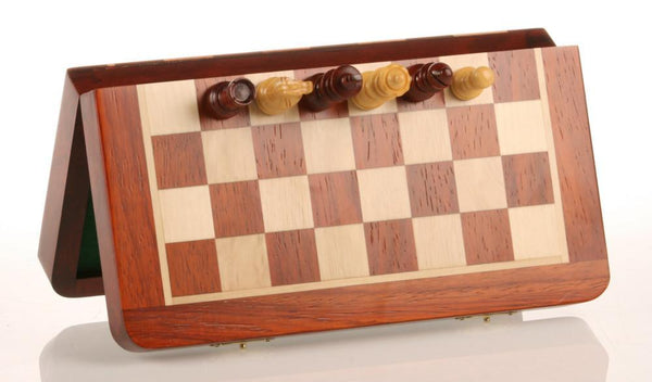 "10"" Magnetic Folding Chess Set in Blood Rosewood & White Maple - Chess Set - Chess-House"
