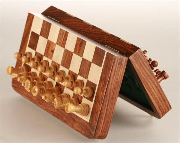 "10"" Magnetic Folding Chess Set in Golden Rosewood & Maple in a Leatherette Case - Chess Set - Chess-House"