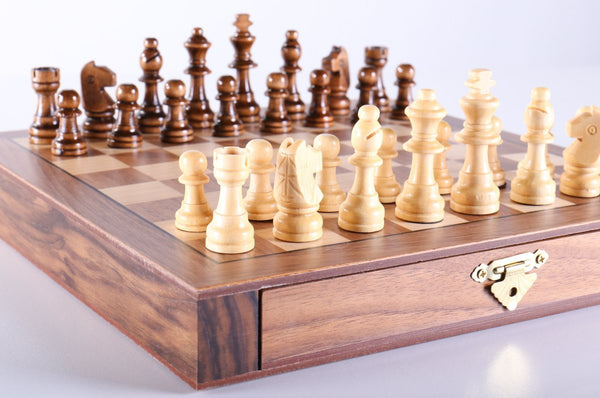 "10"" Travel Walnut Wood Chess Set - Chess Set - Chess-House"