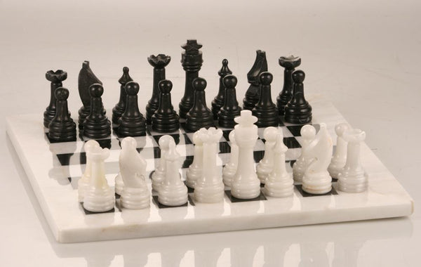 "12"" Black and White Marble Chess Set - Set - Chess-House"