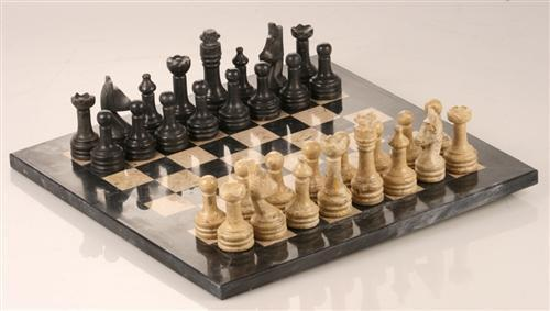 "12"" Coral Stone & Black Marble Chess Set with deluxe velvet box - Chess Set - Chess-House"