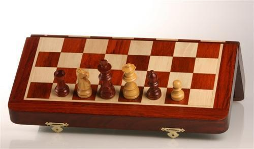 "12"" Magnetic Folding Chess Set in Blood Rosewood/Maple - Chess Set - Chess-House"