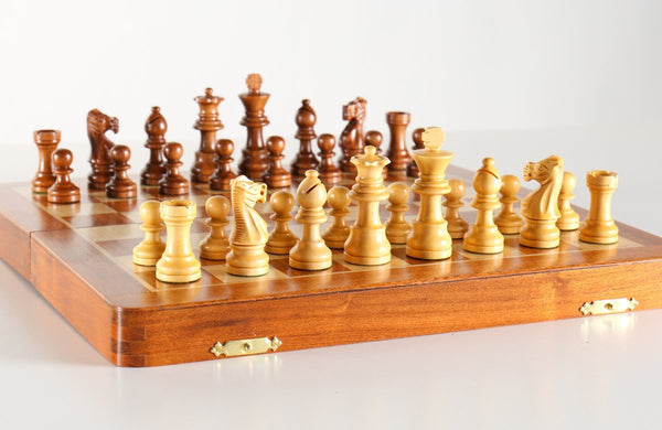 "12"" Magnetic Folding Chess Set in Golden Rosewood / Maple with Leatherette Case - Chess Set - Chess-House"