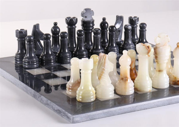 12in. Marble Chess Set - Black & Light Green Board - Chess Set - Chess-House
