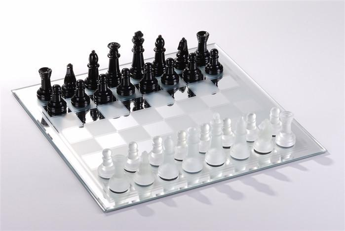 13.75 inch Mirror Chess Board, White and Black - Chess Boards