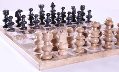 "13"" Brown and Black Onyx Chess Set - Chess Set - Chess-House"