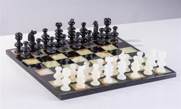 "13"" Onyx Chess Set - Black and Green - Chess Set - Chess-House"