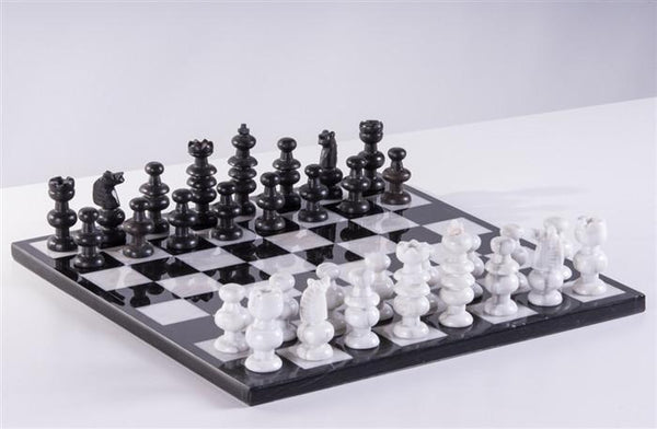 "13"" Onyx Chess Set - Black and Marble White - Chess Set - Chess-House"