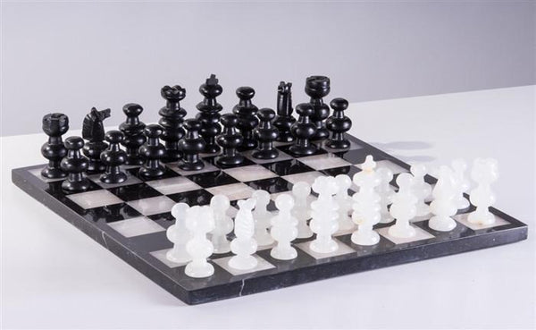 "13"" Onyx Chess Set - Black and White - Chess Set - Chess-House"