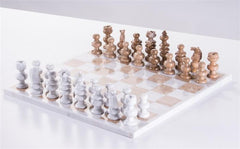 "13"" Onyx Chess Set - Brown and Marble White - Chess Set - Chess-House"