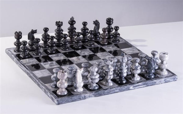 "13"" Onyx Chess Set - Grey and Black - Chess Set - Chess-House"