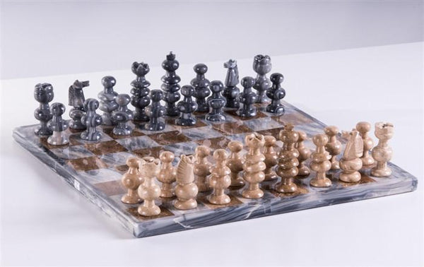 "13"" Onyx Chess Set - Grey and Brown - Chess Set - Chess-House"