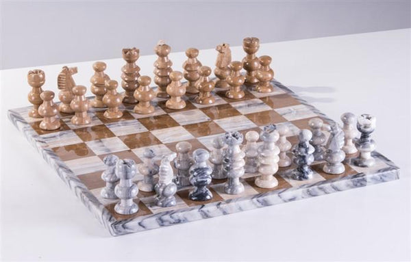 "13"" Onyx Chess Set - Grey and Swirled - Chess Set - Chess-House"