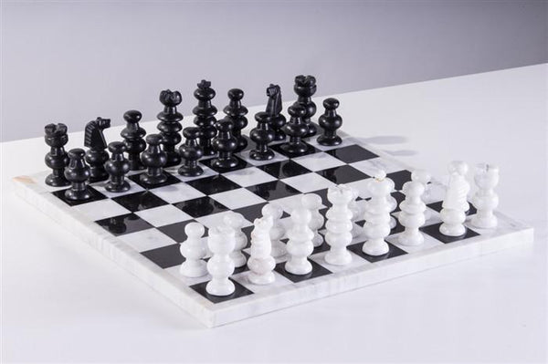 "13"" Onyx Chess Set - Marble White and Black - Chess Set - Chess-House"