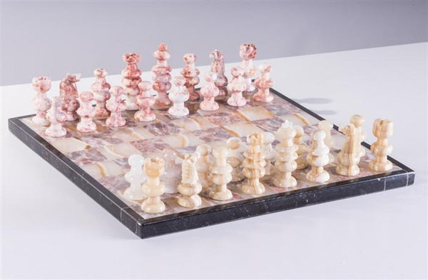"13"" Onyx Chess Set - Pink and Swirled White - Chess Set - Chess-House"