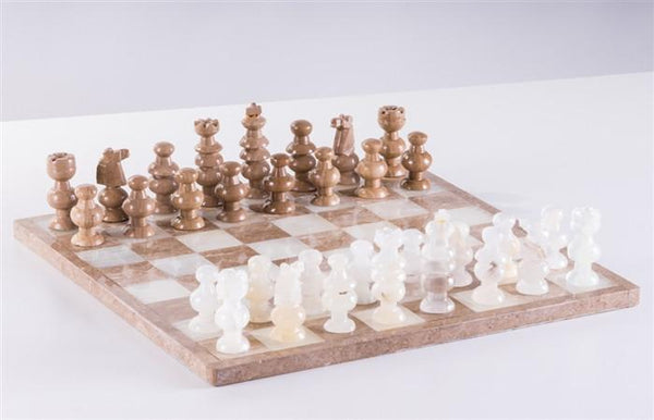"13"" Onyx Chess Set - White and Swirled - Chess Set - Chess-House"