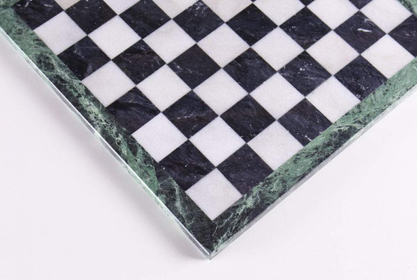 "14"" Black and White Marble Chess Board"