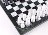 "14"" Black and White Marble Chess Set with Green Frame Chess Set"