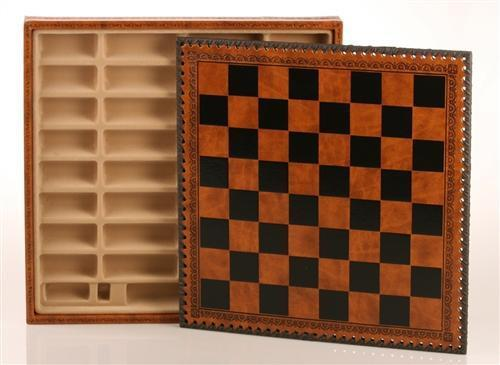 14 inch Leatherette Cabinet Chess Storage Board - Chess Furniture
