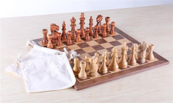 "15"" Walnut Staunton Wood Chess Set - Chess Set - Chess-House"