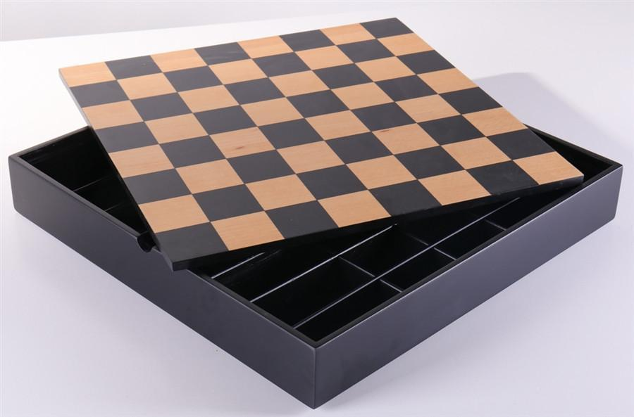 16.25 inch Black and Maple Chest - Chess Furniture