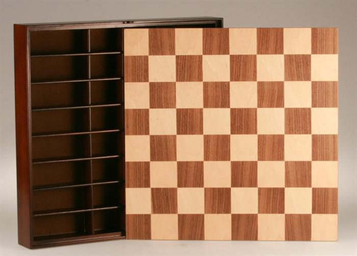 16.25 inch Walnut and Maple Veneer Chest - Chess Furniture