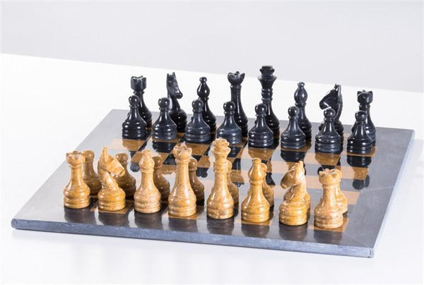 "16"" Black and Gold Marble Chess Set - Chess Set - Chess-House"