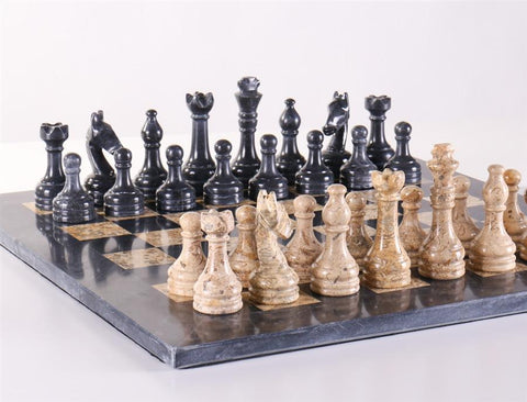 "16"" Coral and Black Marble Chess Set - Chess Set - Chess-House"