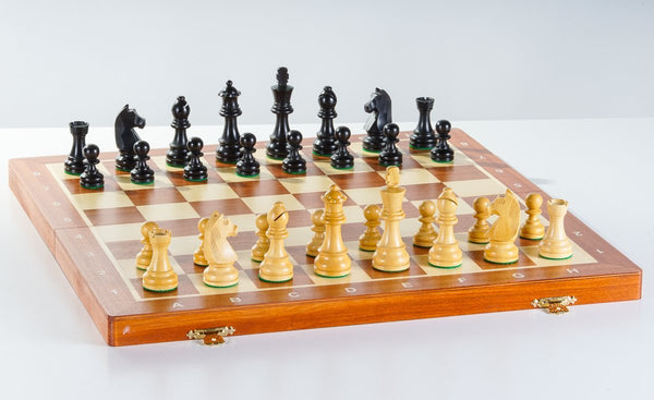 "16"" Folding Tournament Chess Set - German Design Ebonized - Chess Set - Chess-House"
