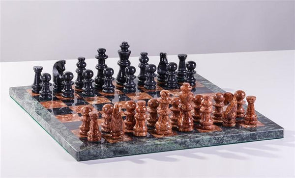 "16"" Marble Black and Brown Chess Set - Chess Set - Chess-House"