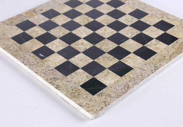 "16"" Marble Chess Board in Coral & Black Board"