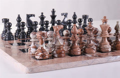 "16"" Marble Chess Set Euro Design in Marina & Black - Chess Set - Chess-House"