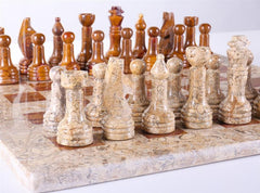 "16"" Marble Chess Set in Coral and Red - Chess Set - Chess-House"