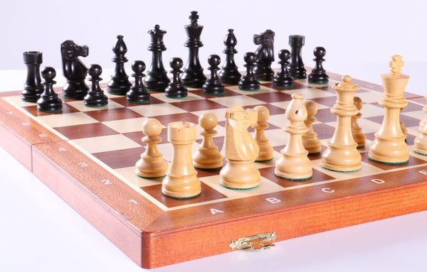 "18.5"" Folding Tournament Chess Set - 3.5"" Black & Boxwood - Chess Set - Chess-House"