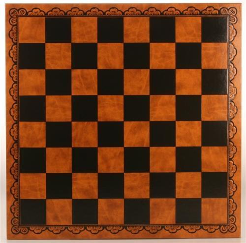 "18"" Tooled Leatherette Chessboard - Board - Chess-House"