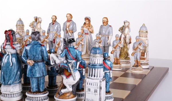 1863 Battle of Gettysburg Civil War Chess Set with Matching Board and Wood Storage Boxes - Chess Set - Chess-House
