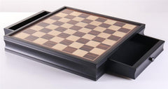 "19"" Black Stained Chess Board with Storage Drawers - Board - Chess-House"