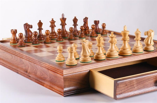 "19"" English Travel Chess Set with pull out storage - Chess Set - Chess-House"