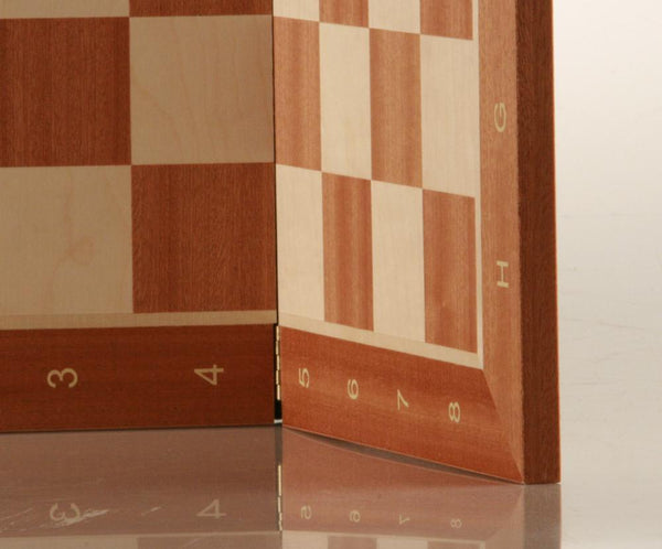 "19"" Folding Wooden Chess Board - Sycamore & Mahogany - Board - Chess-House"