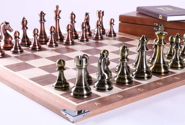 "21.5"" Walnut and Metallic Style Set with Storage - Chess Set - Chess-House"