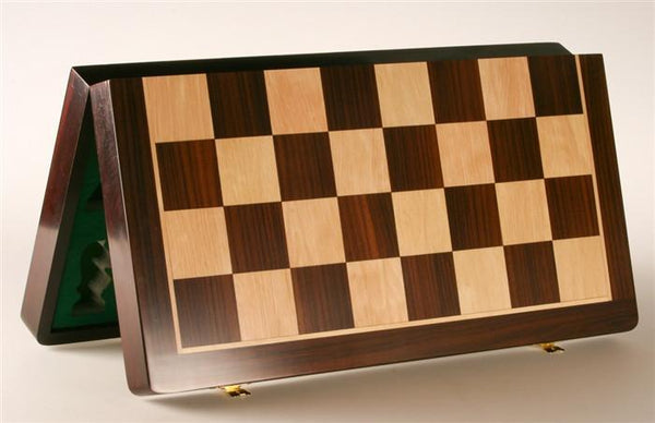 "21"" Folding Chess Board and Leatherette Case in Rosewood & Maple - Board - Chess-House"