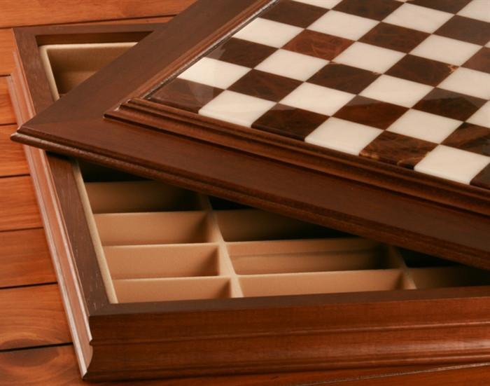24 inch Alabaster Cabinet Chess Storage Board - Chess Furniture