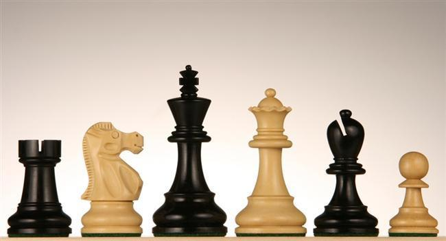 3 1/2 inch Black Stained Kari Wood Chessmen - Chess Pieces