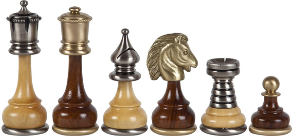 "3 1/2"" Italian Made Metal and Wood Chessmen - Piece - Chess-House"