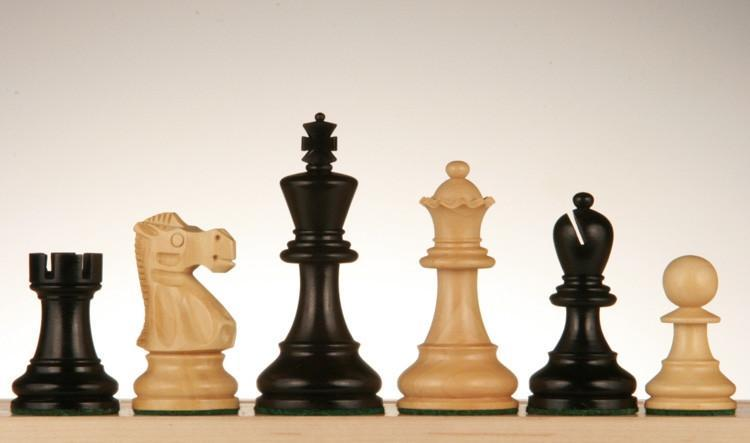 3 1/4 inch Classic Chessmen - Weighted and Hand-polished Black Stained Wood - Chess Pieces