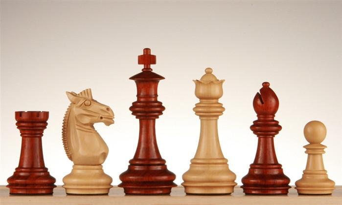 3 1/4 inch Meghdoot Staunton Redwood Chess Pieces - Chess Pieces