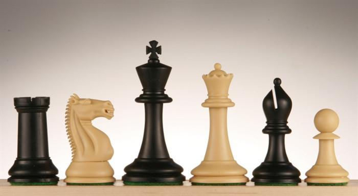 3 3/4 inch Emisario Player Chess Pieces - Black and Tan - Chess Pieces